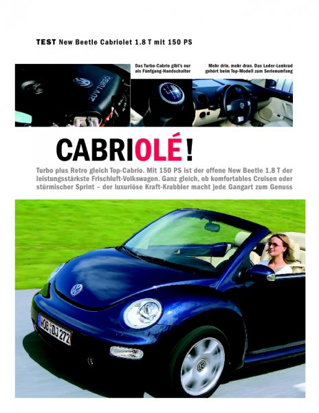 Test: New Beetle Cabriolet 1.8 T mit 150 PS
