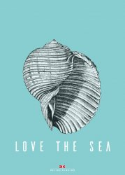 Maritimes Notizbuch - Illustration: Muschel, Spruch: Love the Sea
