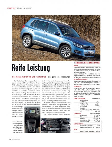 KURZTEST Tiguan 1.4 TSI BMT 160 PS
