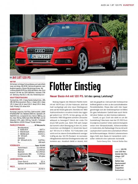 Kurztest: Audi A4 1.8T 120 PS