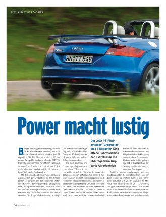 TT RS Roadster mit 340 PS