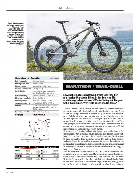 Test: Specialized Epic Expert Evo vs. Cube AMS 100 TM 29