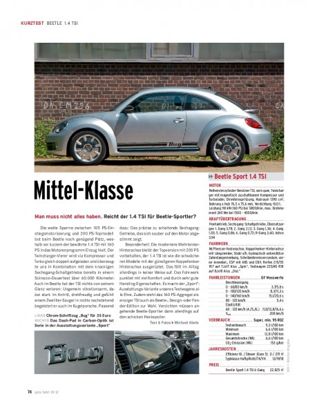 KURZTEST Beetle 1.4 TSI 160 PS