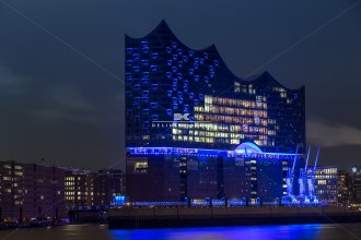 Willner, Die Hamburger Elbphilharmonie in Blau