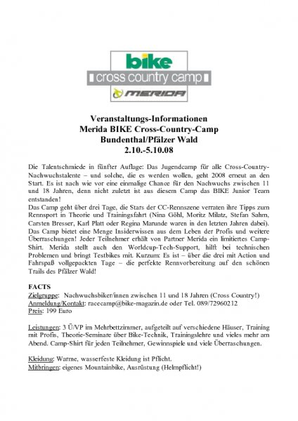 Merida BIKE Cross-Country-Camp: Veranstaltungs-Informationen 2008