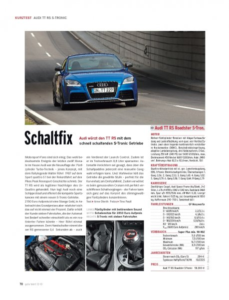 KURZTEST Audi TT RS Roadster 340 PS