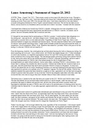 Statement Lance Armstrong 8/2012