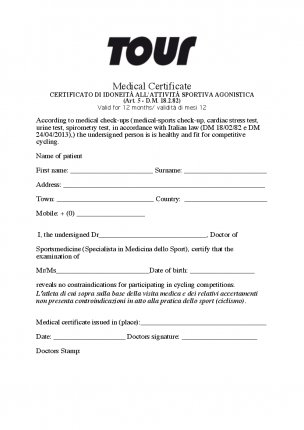 Medical Certificate Italy