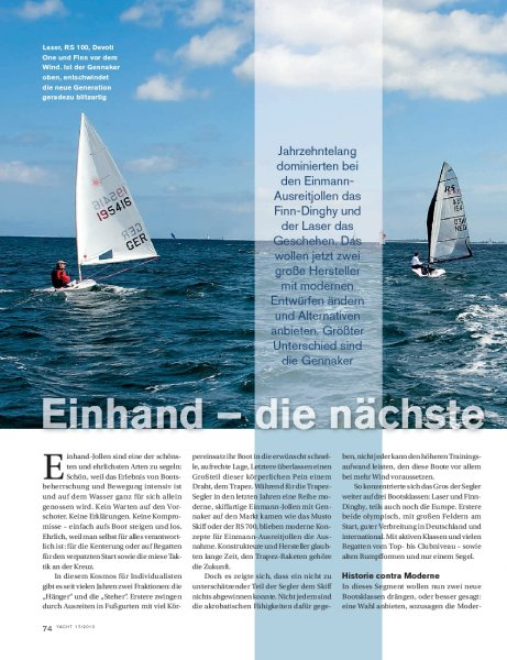 Einhandjollen: Finn-Dinghy, RS 100, Devoti One, Laser