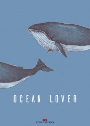 Maritimes Notizbuch - Illustration: Wale, Spruch: Ocean Lover