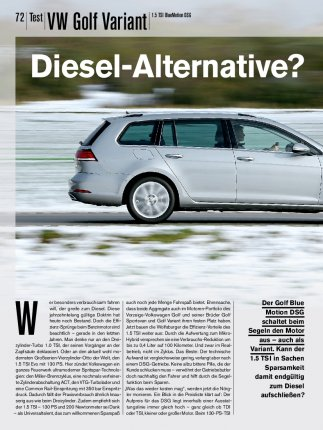Test: VW Golf Variant 1.5 TSI BlueMotion DSG