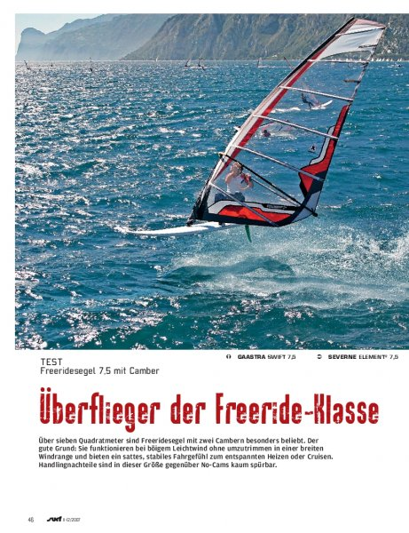 Test: Freeridesegel 7,5 mit Camber